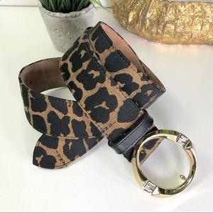 Fendi Authentic Vintage FF Logo Leopard Print Belt